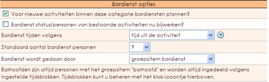 Bardienstplanning opties in e-Captain
