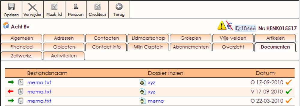 Documentenbeheer voor relaties in e-Captain